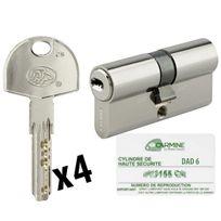 Bricorama - Cylindre de porte 30 x 30 mm debrayable avec 4 clés et carte de reproduction Barillet double entrée