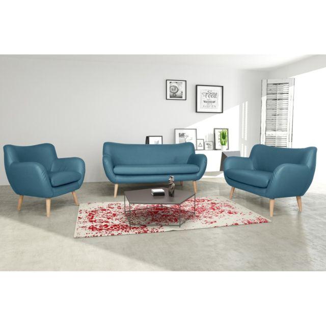 Rocambolesk Canapé Adele 3+2+1 Pu soft 08 bleu avec pieds naturels sofa divan