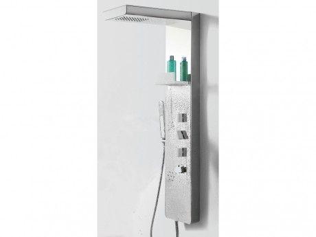 shower design colonne de douche baln o eniko avec tag re l52 p22 h120cm finition miroir. Black Bedroom Furniture Sets. Home Design Ideas