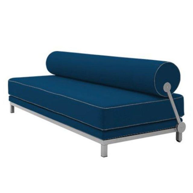 Inside 75 Canapé lit convertible design Sleep en tissu laine bleu marine structure aluminium Softline
