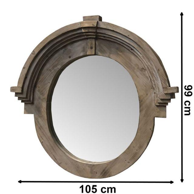 Chemin De Campagne Miroir Fenêtre Miroir Oeil de Boeuf en Bois 105 cm x 99 cm