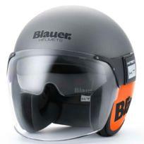 Blauer - casque jet moto scooter Pod fibre titane-orange mat