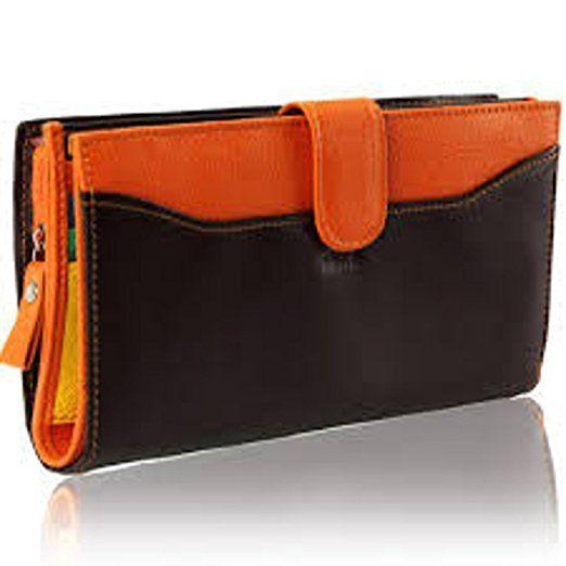 6150d3684ec9 Kinsell - Portefeuille femme cuir choco-orange, compagnon haut de ...