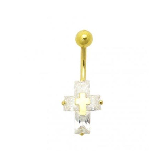 Sans Marque Bijou Pierre Précieuse Piercing De Nombril En Or creux 14 Carats Croix de Zircons Cz surmontée d'une Croix en Or