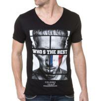 Celebry tees - T-shirt Homme Noir Avec Drapeau