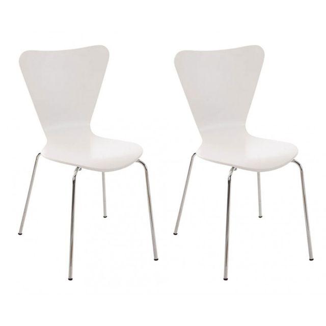 Lot de 2 chaises de séjour bureau en bois blanc et métal Cds10007