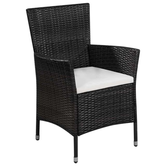 Icaverne - Chaises d'extérieur famille Chaise d'extérieur et tabouret Noir et blanc crème