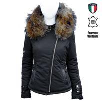 No Brand - Veste Perfecto noir Bi-matière Fourrure veritable taille Max 17 cm, et Cuir d'Agnneau-fourrure, veste, perfecto, blouson