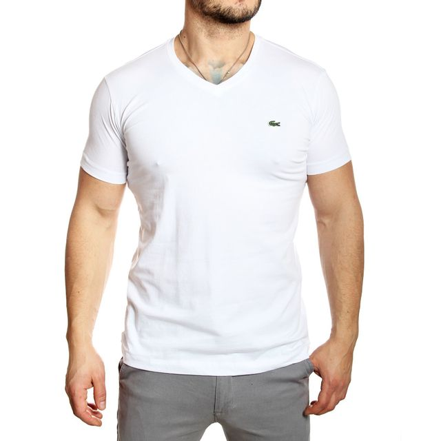 383138dba3 Lacoste - Lacoste - T-shirt homme Th2683 col V manches courtes blanc