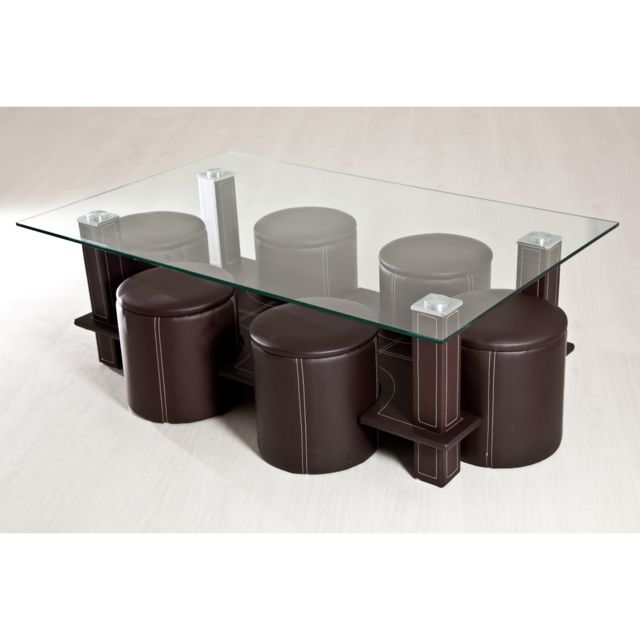 TOPDECO Table basse + 6 poufs marron