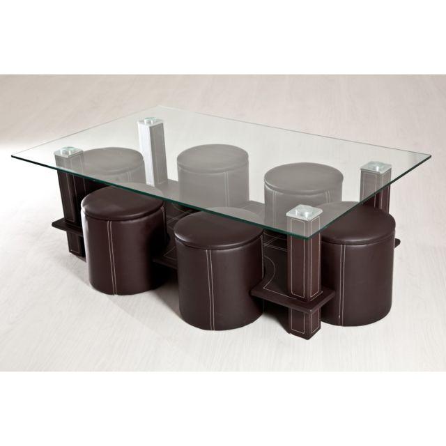 TOPDECO Table basse + 6 poufs marron