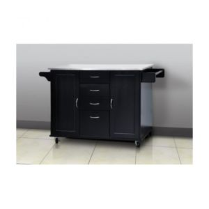 usines discount meuble desserte cuisine 134x56cm noir. Black Bedroom Furniture Sets. Home Design Ideas