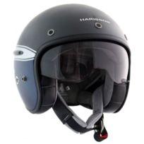 Harisson - casque jet moto scooter fibre Squadron noir-bleu mat - Ca131