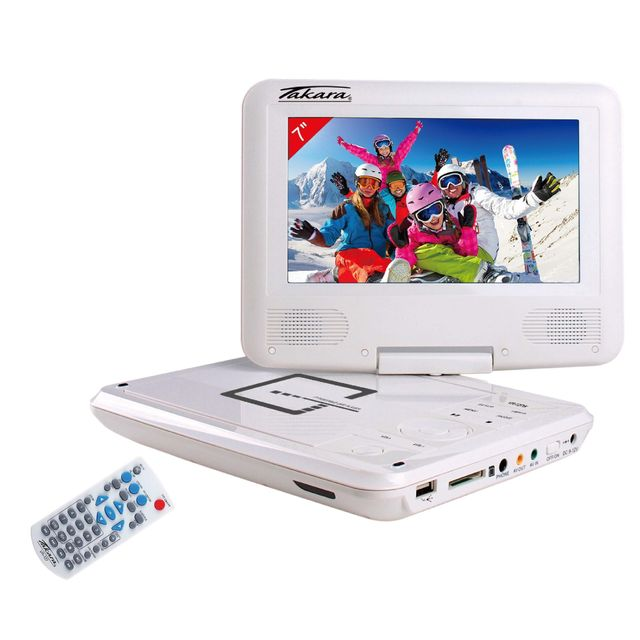 takara lecteur dvd portable vr127w blanc pas cher. Black Bedroom Furniture Sets. Home Design Ideas