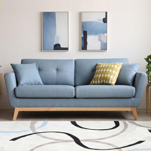 Concept Usine Höga Bleu Pastel : Canapé scandinave 3 places bleu pastel + 2 coussins