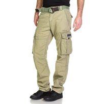 Deeluxe - Pantalon homme cargo olive avec ceinture