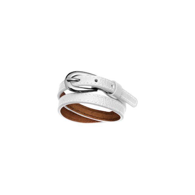 1001BIJOUX Bracelet acier et cuir 2 rangs fermeture ceinture
