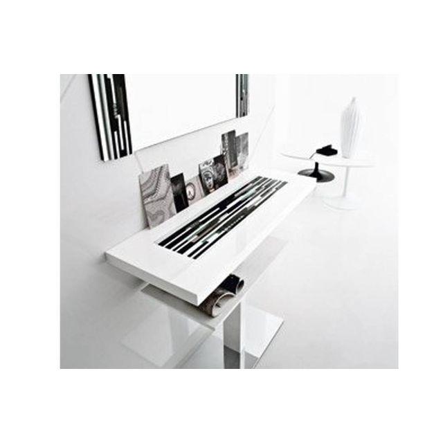Inside 75 - Console Venezia laque blanc design 2 plateaux - pas cher ... 86467fde18aa