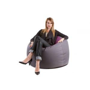 d co maison gros pouf rond original bowly bicouleur gris aubergine jumbo bag pas cher. Black Bedroom Furniture Sets. Home Design Ideas