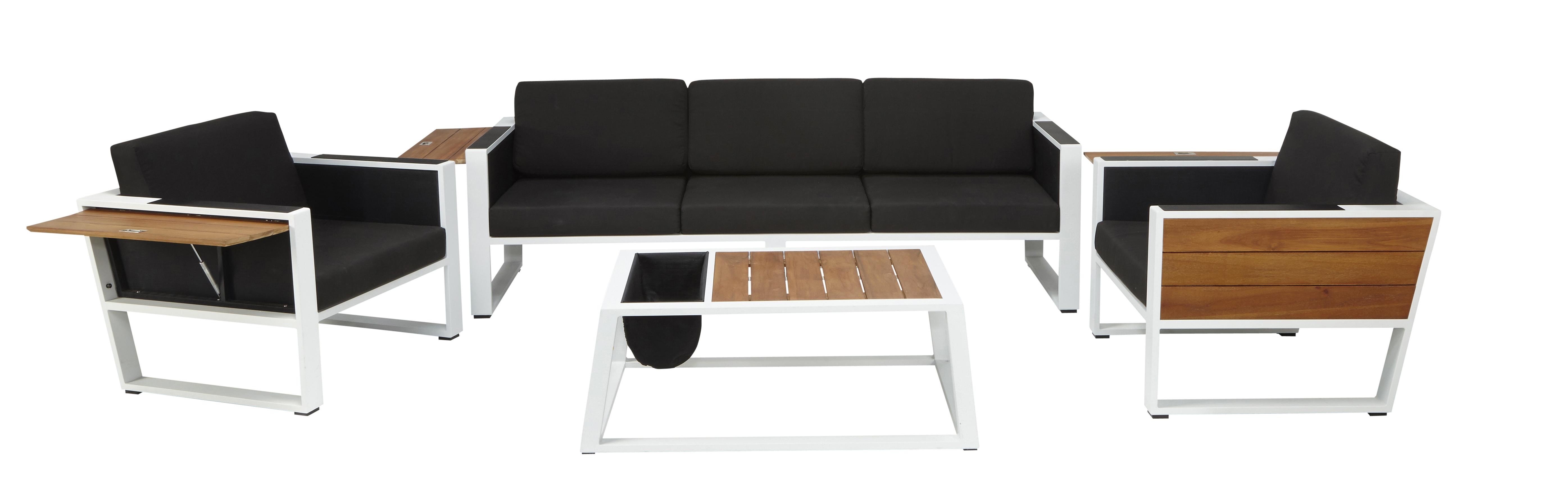 RUE DU COMMERCE - Salon bas de jardin 4 pièces Noir, blanc et bois ...