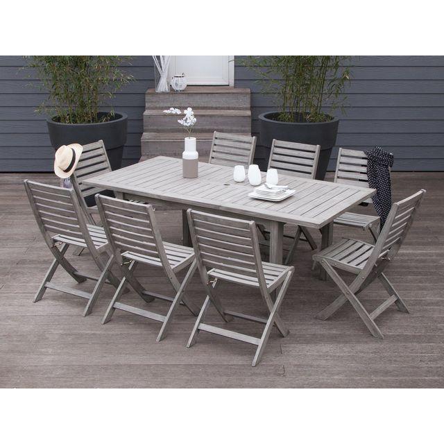 House Bay - Salon de jardin 8 places Acacia gris : 1 table ...