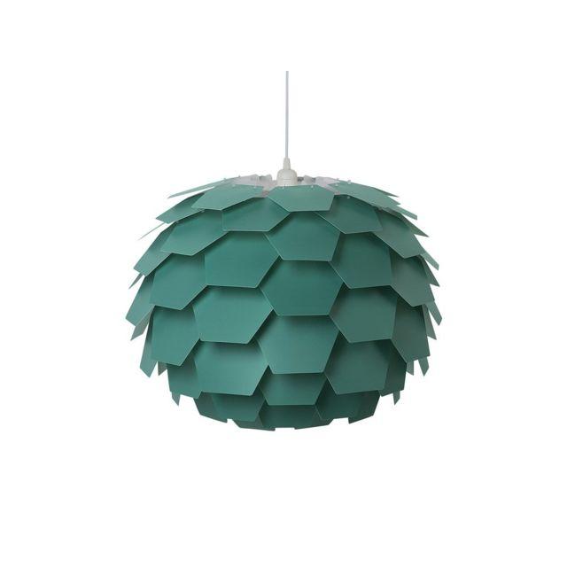 BELIANI - Lampe suspension verte gros abat-jour Segre