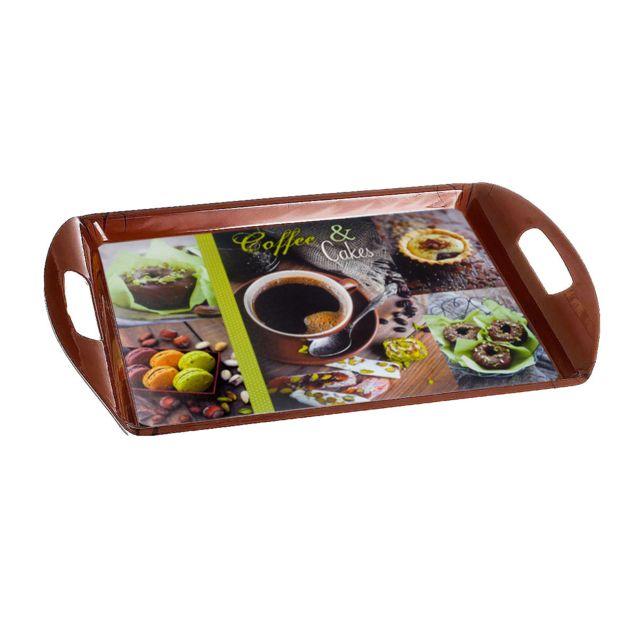 Sans Marque Plateau De Cuisine - 51 X 34 Cm - Coffe & Cakes - Vert