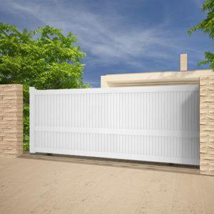emalu portail alu coulissant droit ouverture droite blanc 3 50x1 60m melville pas cher achat. Black Bedroom Furniture Sets. Home Design Ideas