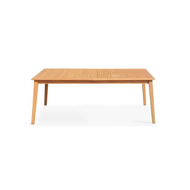 OVIALA - Table de jardin en bois extensible 200-250cm - Marron - pas ...