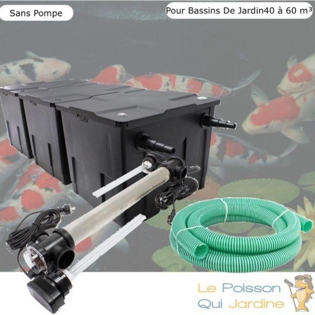 Le Poisson Qui Jardine Kit Filtration, Uv 110W, Acier Inoxydable Sans Pompe, Pour Bassin : 40 à 60 m Option : Pack Bactéries & Activateur Biolo