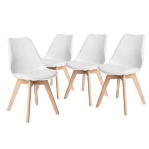 altobuy solenn lot de 4 chaises blanches pas cher achat vente chaises rueducommerce. Black Bedroom Furniture Sets. Home Design Ideas