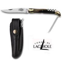 Forge De Laguiole - Couteau pliant en corne marbré 3 pièces couteau, poinçon , tire-bouchon, 12 cm 2 mitres 3212B-Gamme Laguiole de couteaux pliants