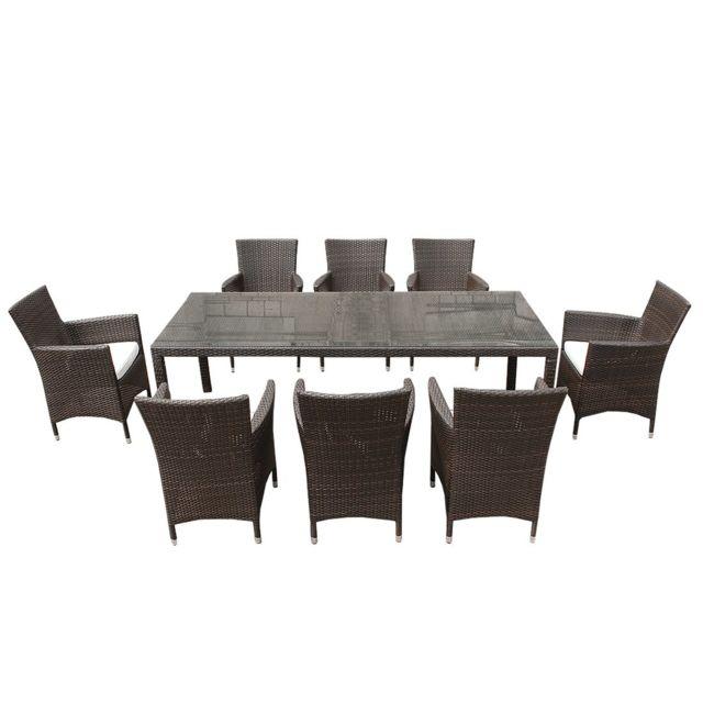 BELIANI Ensemble de jardin en rotin table et 8 chaises avec coussin blanc ITALY
