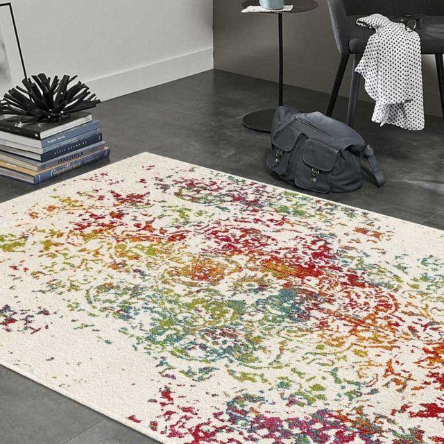 un amour de tapis tapis de salon moderne design oriental destructure multicolore pas cher. Black Bedroom Furniture Sets. Home Design Ideas