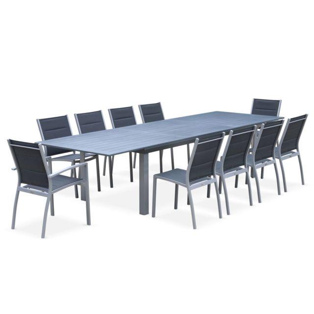 Salon de jardin table extensible - Odenton Gris - Grande table en aluminium  235/335cm avec rallonge et 10 assises en textilène