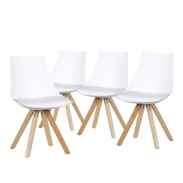 altobuy hopen lot de 4 chaises blanches pas cher achat vente chaises rueducommerce. Black Bedroom Furniture Sets. Home Design Ideas