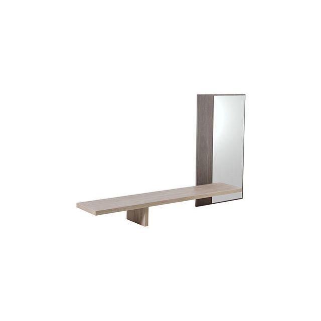 Miroir + 1 étagère 182x102x30cm naturel - Cassandre