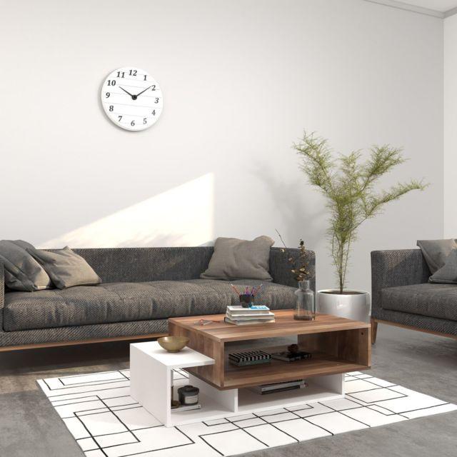 Homemania Table basse design Germini - L. 100 x H. 35 cm - Marron noix