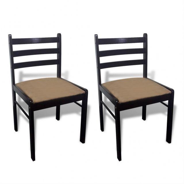 Casasmart Lot de 2 chaises dossiers carrés bois noir