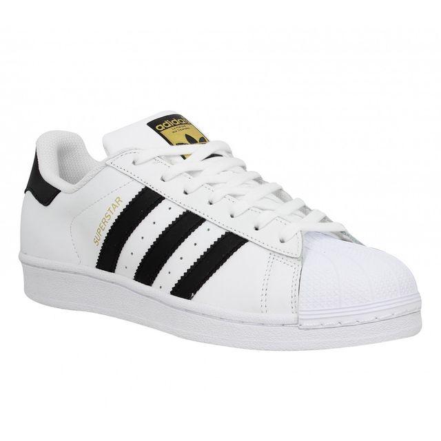 Adidas - Superstar cuir Homme-42 2/3-Blanc + Noir