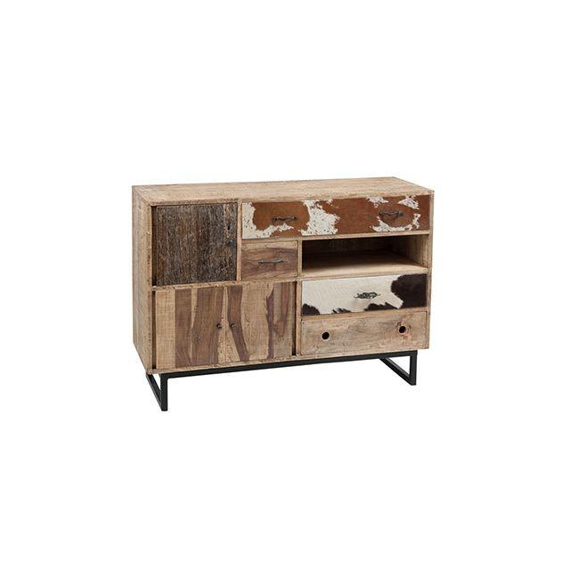 Commode 3 portes 4 tiroirs en bois naturel et peau de vache