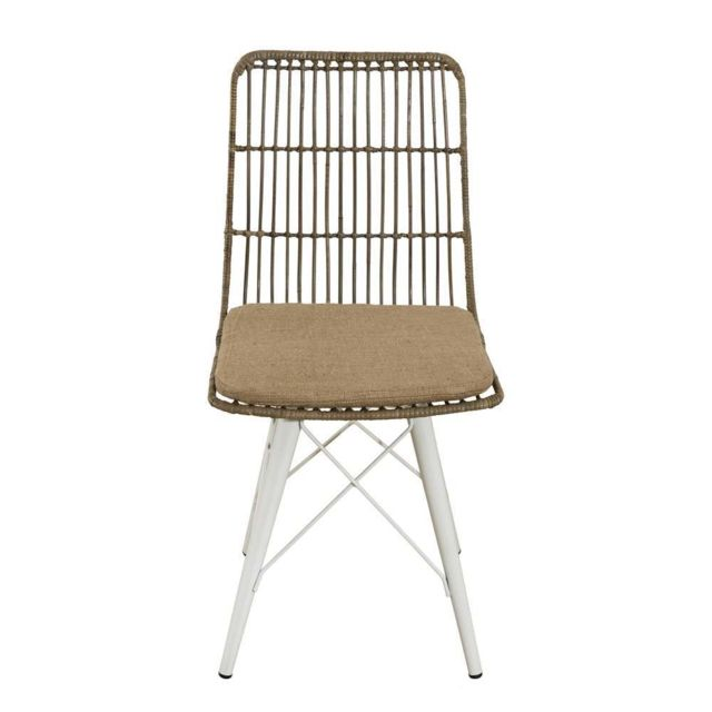 MACABANE Lot de 2 chaises scandi rotinkubu et métal blanc