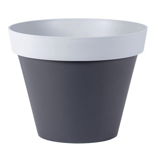 eda plastiques pot de fleurs style 43 l 48 cm anthracite gris souris pas cher achat. Black Bedroom Furniture Sets. Home Design Ideas