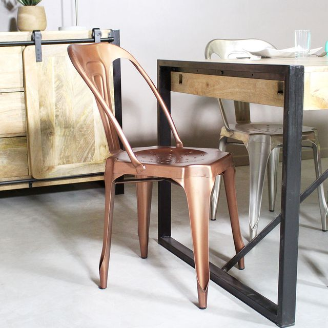 Made In Meubles - Chaise métal industrielle   Stxx-cuivre