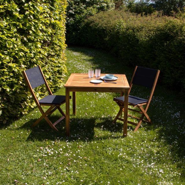 Salon de jardin carré en bois d\'acacia Fsc noir 2 places