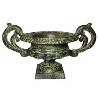 Vase Vasque Chambord Jardinière de Pilier Pot de Fleur Décoratif en Fonte  Verte 15x26x26cm