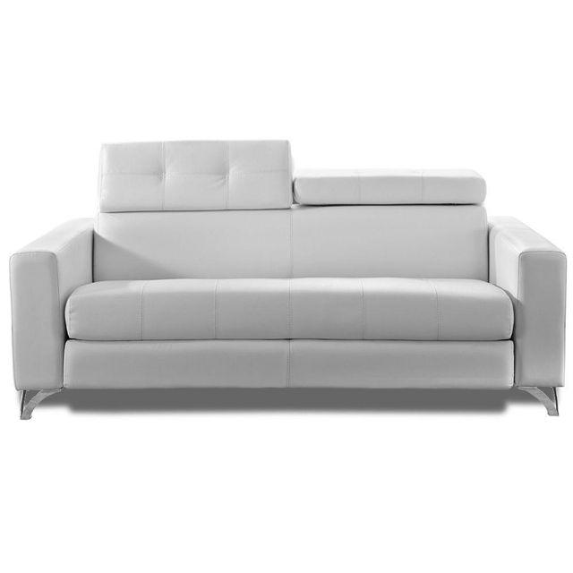 inside 75 canap convertible ouverture rapido delano 160 cm cuir vachette blanc sommier lattes. Black Bedroom Furniture Sets. Home Design Ideas