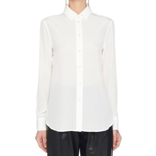 Saint Laurent Femme 395733Y100W9935 Blanc Soie Chemise