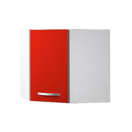 Meuble haut d'angle L60x60xH58xP36cm - rouge