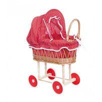 Egmont Toys - Landau en osier rouge à pois blanc